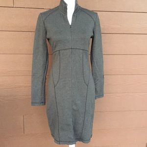 Athleta Cassidy half zip ponte knit dress gray S